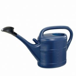 10 Litre Sturdy Eco Friendly Large Blue Plastic Watering Can with Rose